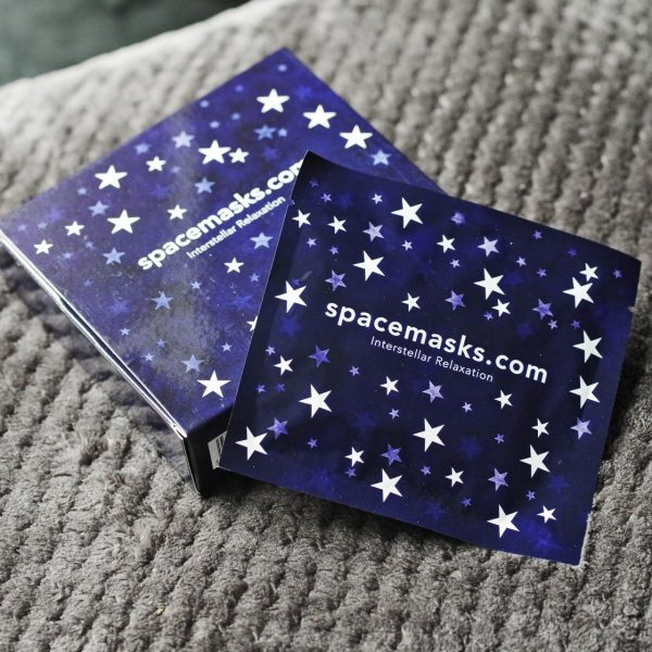 Spacemask Soothing Eye Mask blue square box with stars and the word Spacemasks Box of 5