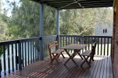 Deck with timber picket handrail