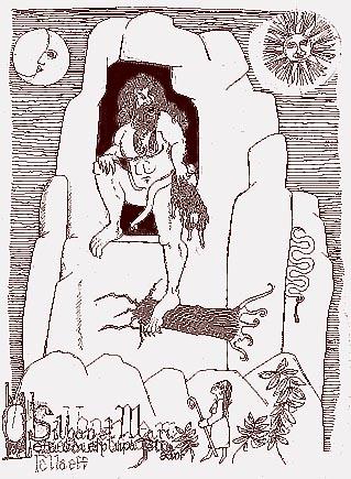 """Lo Silbán y Marieta. """"Breve Inventario de Seres Mitológicos, Fantásticos y Misteriosos de Aragón"""" Ilustración de Chema G. Lera."""
