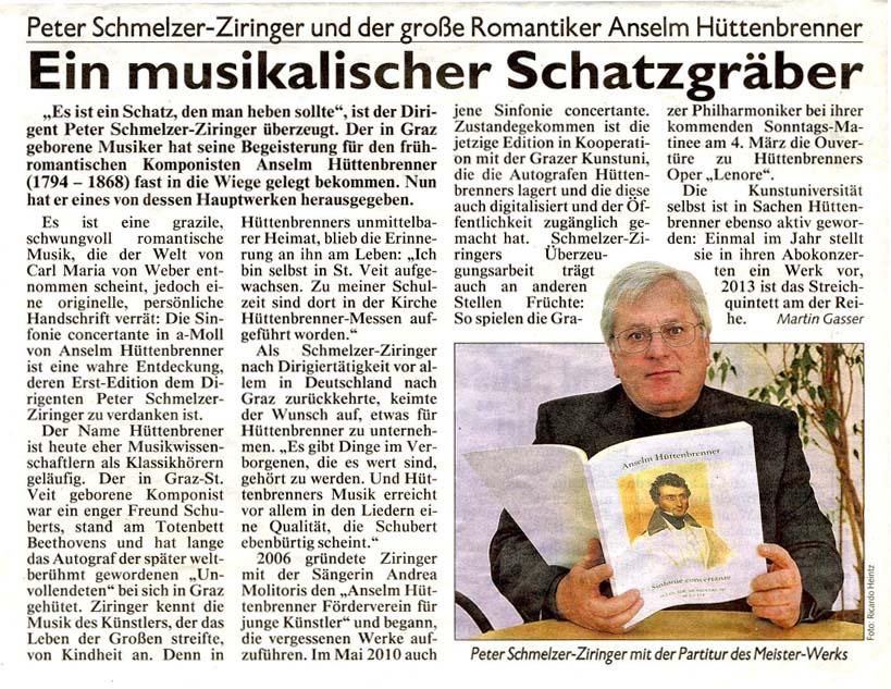 Ein musikalischer Schatzgräber - Kronen Zeitung, 1.3.2012