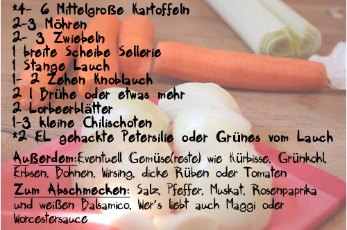 Kartoffelsuppe Zutaten
