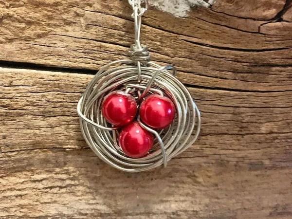 Cherry Red Bird Nest Necklace