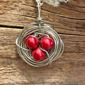 Cherry Red Bird Nest Necklace