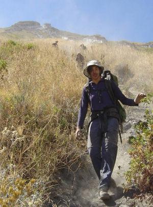 Descending Ol Doinyo Lengai after the gravity survey.