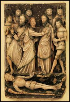 Nottingham Alabaster depicting the betrayal in the Garden of Gethsemane