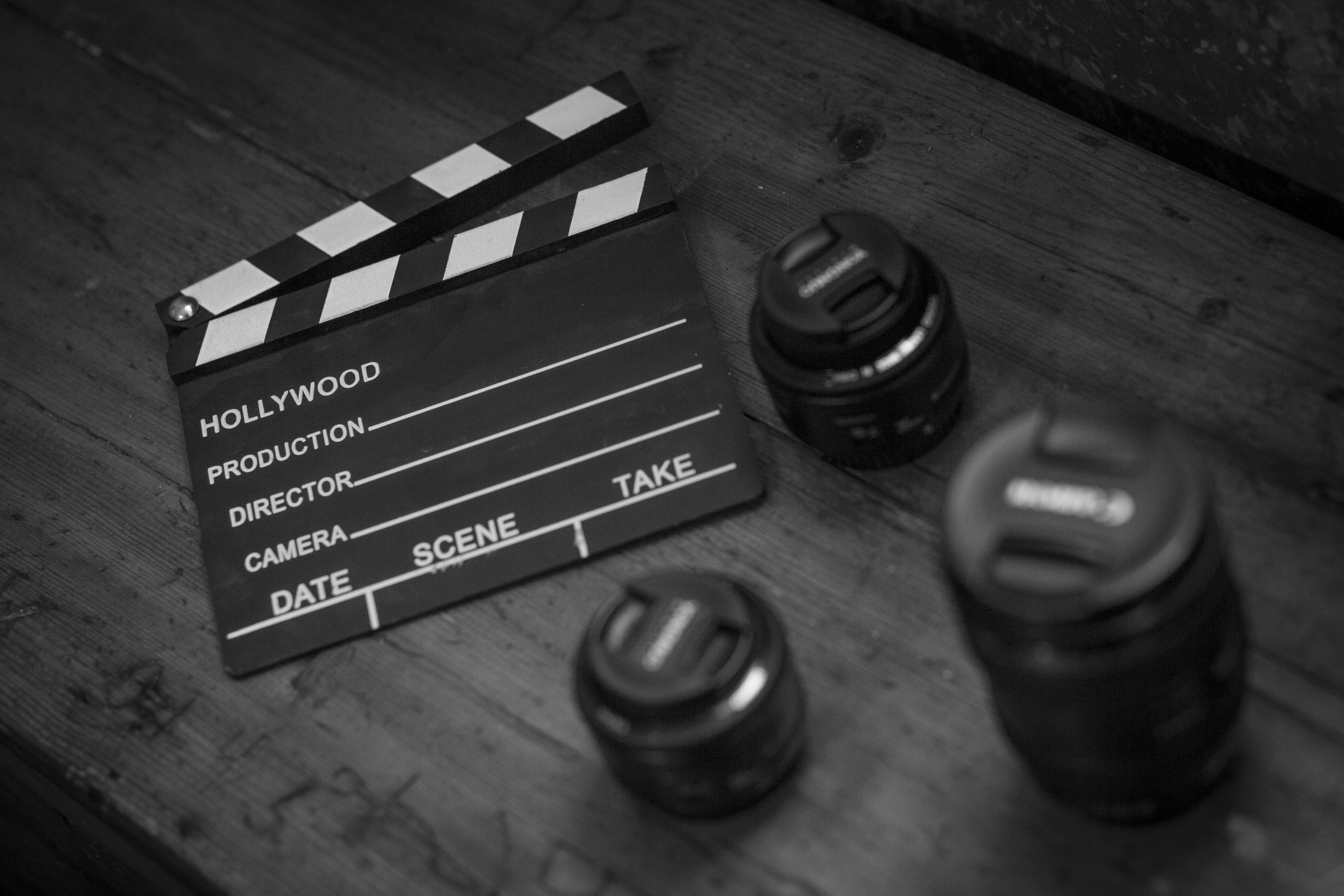 Video production: Clapperboard and camera lenses