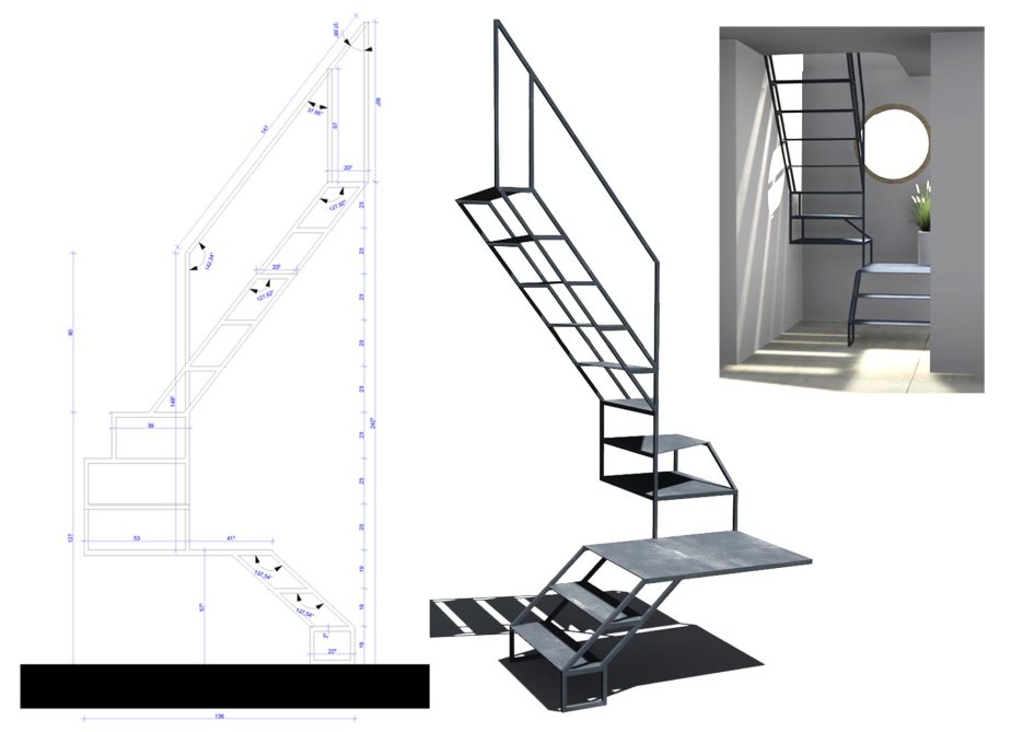 conception escalier sculptural - My Design - Marilyne Yvrard