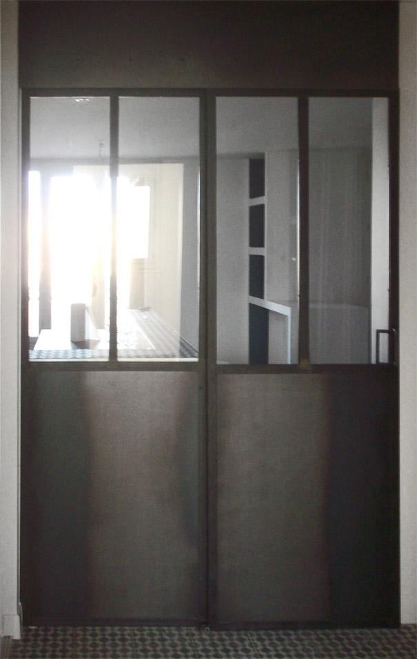 Verrière fixe avec porte coulissante - hugo ferronnerie