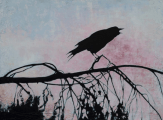 "<h5>Crow Crow Crow</h5><p>Oil on Linen, 51"" x 38""																																																																																					</p>"