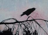 "<h5>Crow Crow Crow</h5><p>Oil on linen, 51 x 38"" (129 ½ x 96 ½cm)</p>"