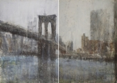 "<h5>Brooklyn Bridge (Diptych)</h5><p>Watercolor on paper, 72"" x 104"" (183 x 264cm)</p>"