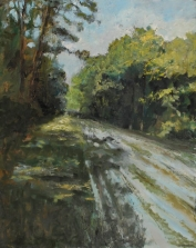 """<h5>Chemin forestier</h5><p>Oil on canvas, 78¾"""" x 63""""</p>"""