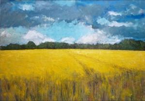 """<h5>L'été arrive</h5><p>Oil on canvas, 63""""x 78¾""""</p>"""