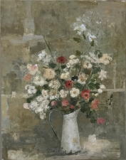 """<h5>Flowers</h5><p>Oil and wax on canvas, 57½"""" x 45""""</p>"""