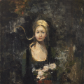 "<h5>La Parfumeuse</h5><p>Oil and wax on canvas, 39½"" x 39½"" (100 x 100cm)</p>"