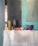"<h5>Blue Sphere</h5><p>Oil on canvas, 25¼"" x 21"" (61.6 x 53.3)</p>"