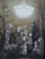 """<h5>The Gathering</h5><p>Charcoal and pastel on paper, 50 x 38"""" (127 x 97cm)</p>"""