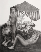 """<h5>The Day Owl</h5><p>Charcoal and pastel on paper, 50 x 38"""" (127 x 97cm)</p>"""