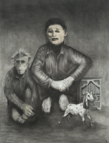 """<h5>The Organ Grinder</h5><p>Charcoal on paper, 50 x 38"""" (127 x 97cm)</p>"""