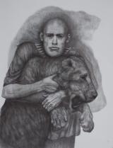 "<h5>Lion Tamer</h5><p>Charcoal on paper, 50 x 38"" (127 x 97cm) </p>"