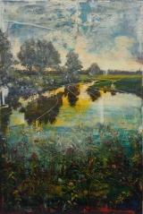 "<h5>Yellow stigma</h5><p>Acrylic and oil on canvas, 47¼"" x 31½"" (120 x 80cm)</p>"
