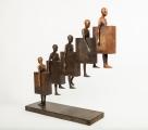 "<h5>Upstairs II</h5><p>Bronze and iron, 34½ x 8¾ x 31½"" (88 x 22 x 80cm)</p>"