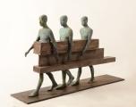 "<h5>Caminantres</h5><p>Bronze, wood, and iron, 26¾ x 27½ x 9¾"" (68 x 70 x 25cm)</p>"