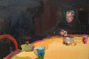 Oil on board painting of a gentleman with a blue nose sitting at a dining table alone by Marc Dailly titled Pierre Dailly au Nez Bleu.
