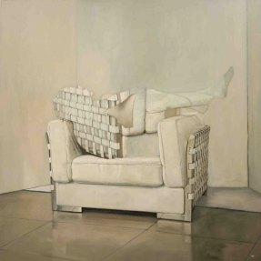 Oil on canvas painting of a woman's silhouette filled in with the details of a white chair, reclining in the same white chair, by Patrick Pietropoli titled Armchair.