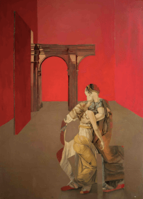 Oil on canvas painting of a figure's silhouette, filled in with the Jacques-Louis David painting The Lictors Bring to Brutus the Bodies of His Sons and seated in a red room, by Patrick Pietropoli titled Brutus's Family.