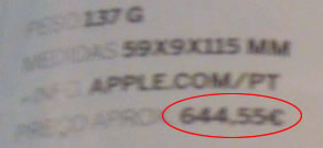 Preço Aprox. iPhone Portugal 644.55€ !?