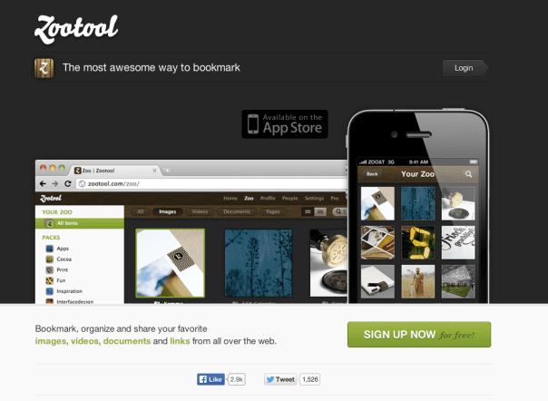 Zootool homepage