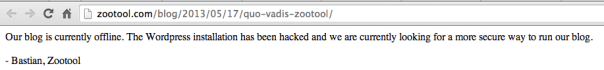 zootool hacked message