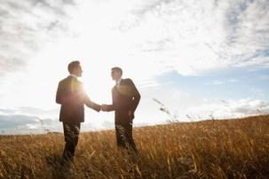 Businessmen shaking hands in field