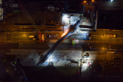 The A63 bridge is rotated into place