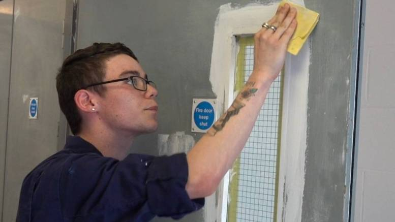 Gavin Garner, a Level 2 Apprentice in building maintenance, multi-trade repair and refurbishment operations.