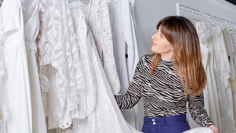 Owner Katey Headley in her bridal boutique, Ghost Orchid Bride, which has just opened in Hull's Fruit Market waterfront district.