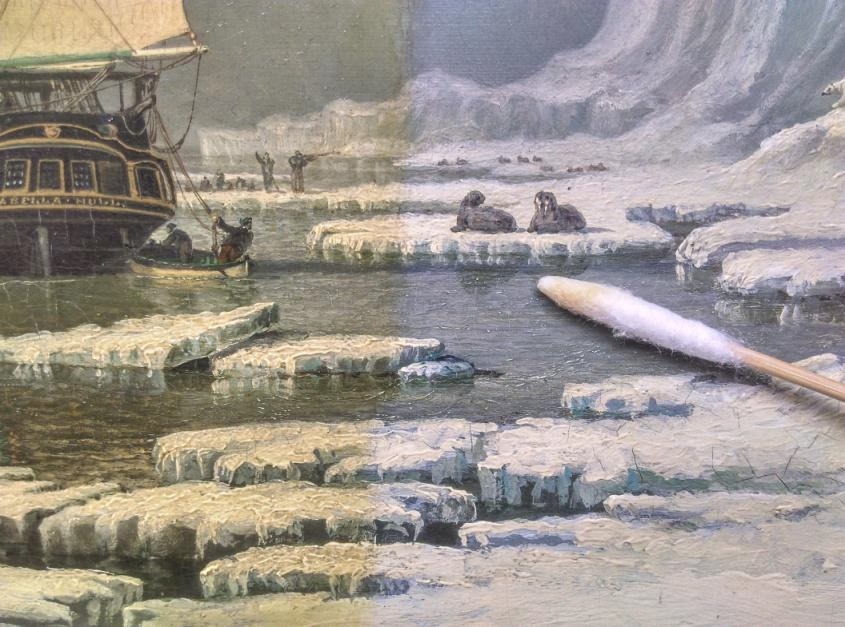 Restoration work on 'Two whalers the 'SWAN' and 'ISABELLA' in the Arctic' of c. 1830 by John Ward.