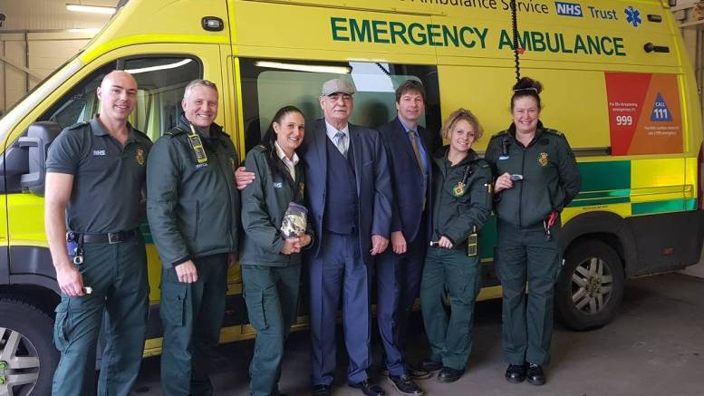 West Hull ambulance staff with Gary Lloyd, centre, Rachel Pippin, centre left, and Mark MvEgan, centre right.