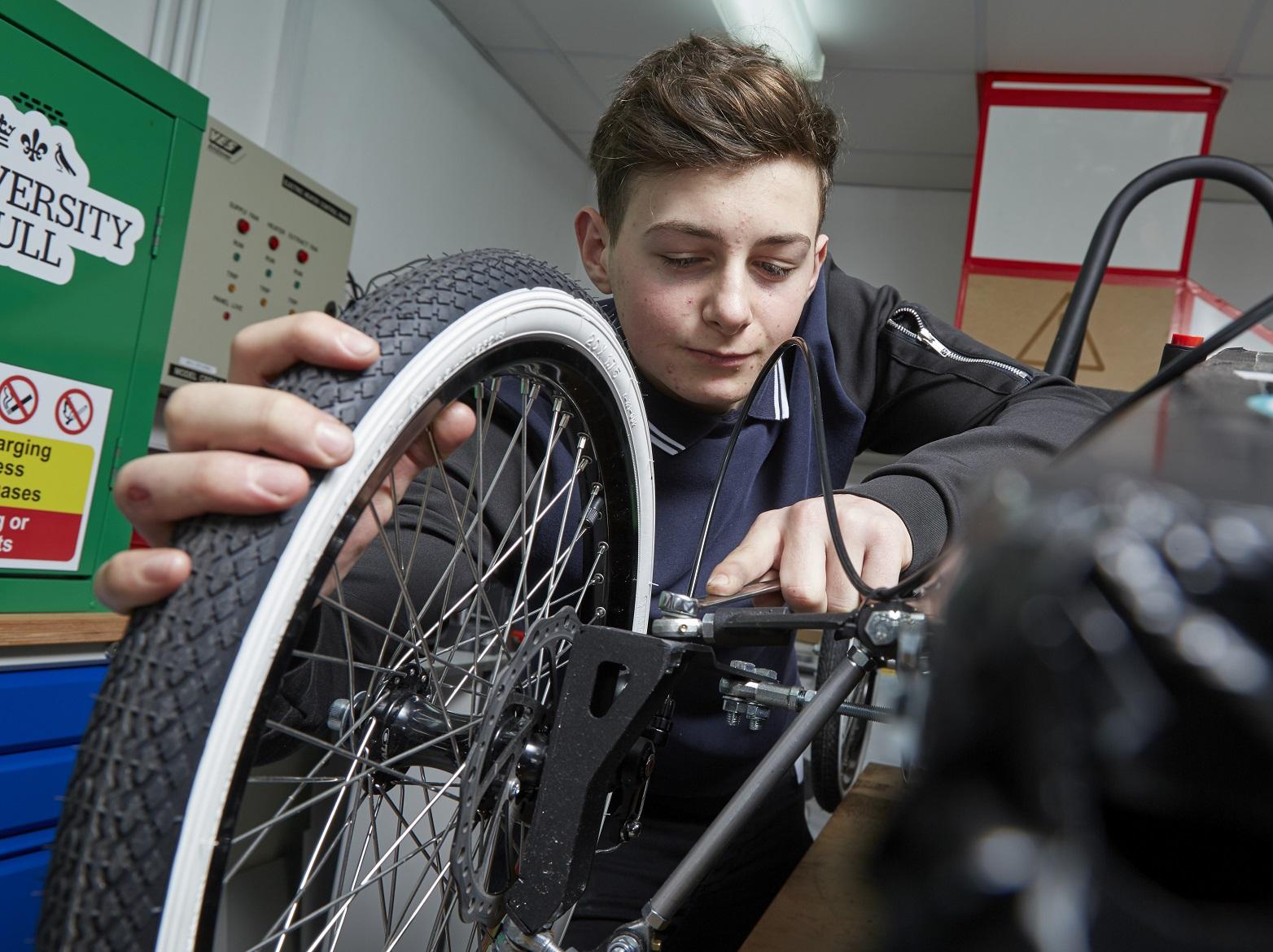 Aidan Dalo, 16, puts his mechanical skills to the test.