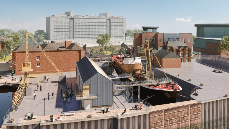 A sketch of how the North End Shipyard may look once the Arctic Corsair has been dry-docked and a new visitor centre built. The site will also be home to the last 'Scotch Derrick' crane in Hull.