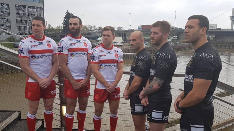 From left, Hull KR stars Joel Tomkins, Kane Linnett and Chris Atkin, and Hull FC stars Danny Houghton, Marc Sneyd and Carlos Tuimavave at Scale Lane Bridge in Hull.
