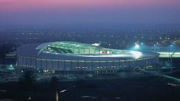 The MKM Stadium at night.