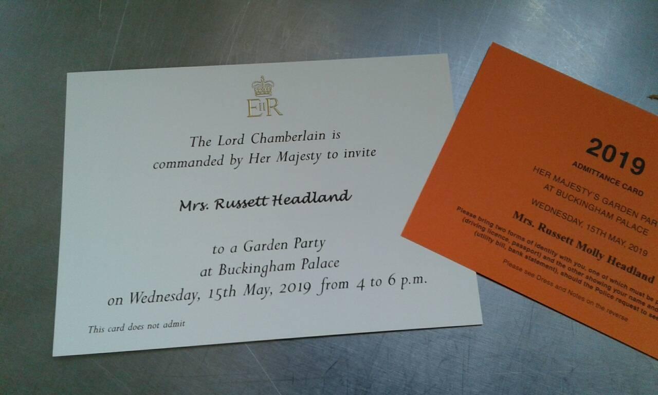 Newland St. John senior cook Russet Headland's invitation for to Buckingham Palace garden party.