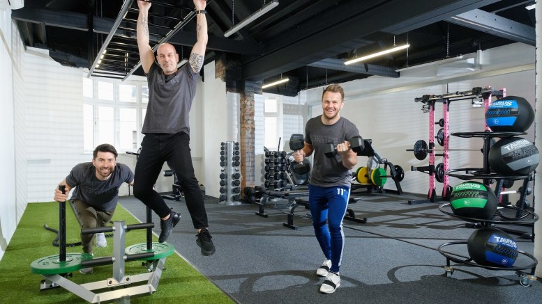 From left, owners Riccardo Seaton, Dale Robinson and Wayne Audsley try out the equipment at The Temple @ Humber Street.