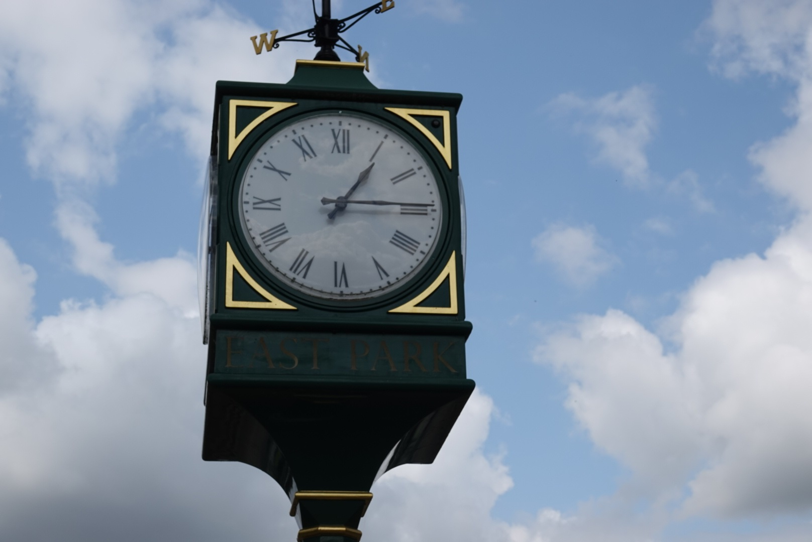The clock at East Park.