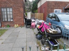 Rubbish piling up at the front of the house