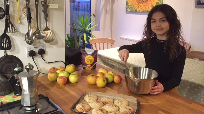 Lucy Musgrave puts the finishing touches to her ginger cookies.