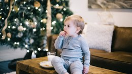 A child at home at Christmas