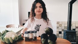 Teenager Lucy Musgrave with some ingredients
